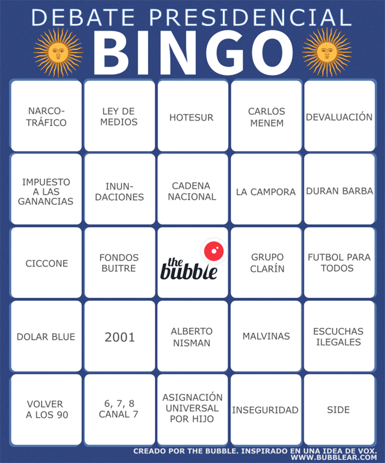 Debate Bingo graphic for the 2015 Argentina Presidential Elections.