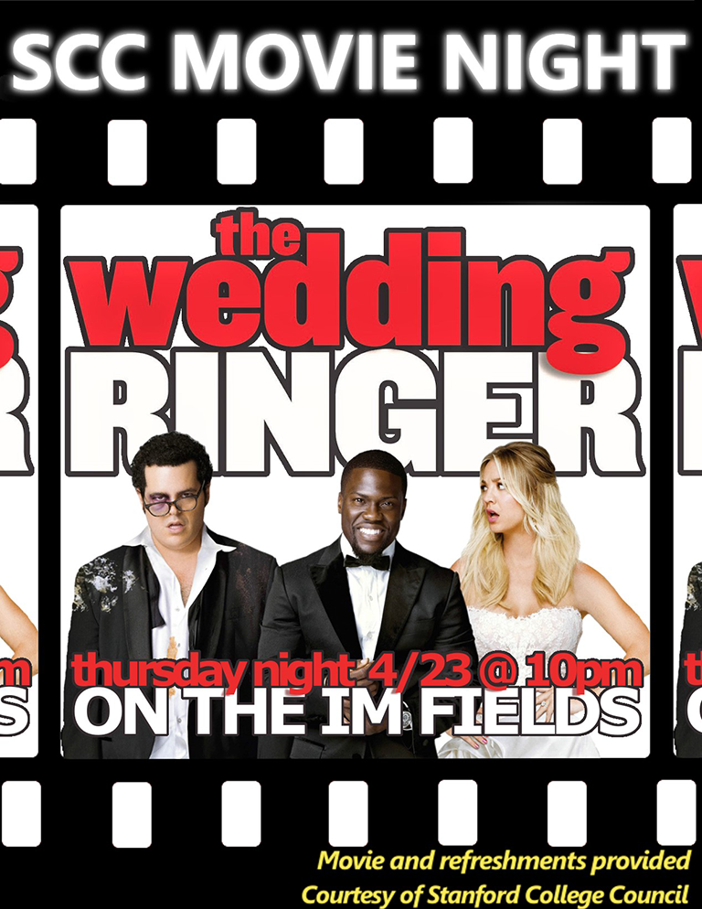 Advertisement for the SCC showing of 'The Wedding Ringer'.