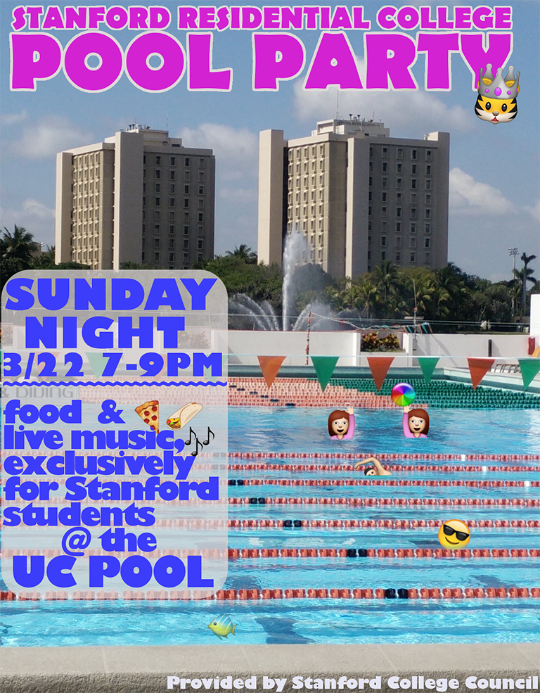 Advertisement for SCC's Stanford Pool Party.